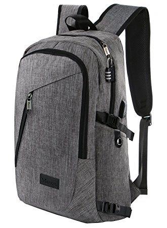 Business Laptop Backpack, Slim Anti Theft Computer Bag, Water-Resistent College School Backpack, Eco-Friendly Travel Shoulder Bag W/ USB Charging Port Fits Unde