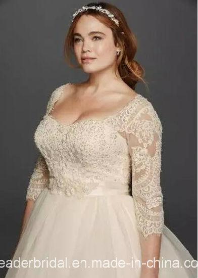 3 4 Sleeves Bridal Gowns Plus Size Lace Bodice Tulle Organza Custom Wedding Dress Ya109