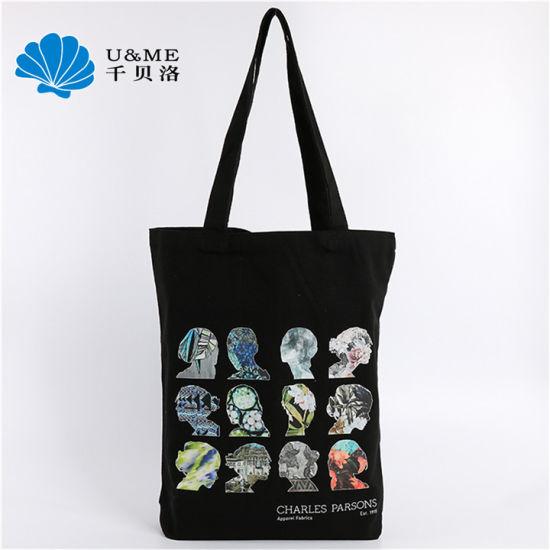 Digital Print Promotional Sublimation Woman Black Canvas Cotton Tote Bag