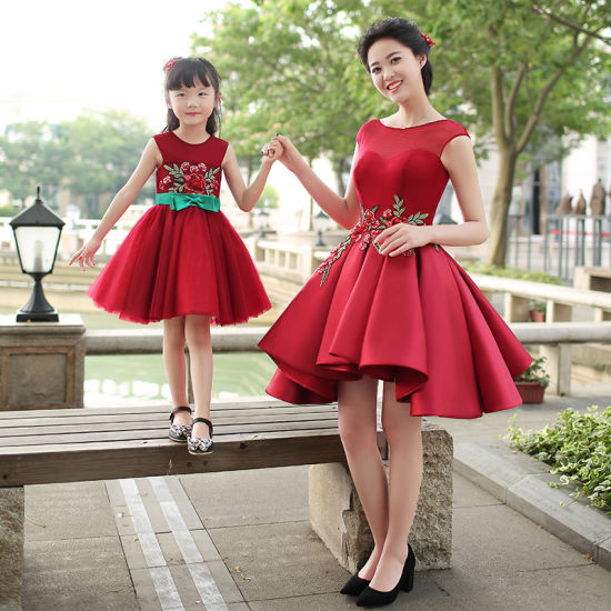 e2534910895fe Red Embroidery Mother and Daughter Dresses A-Line Flower Girl Dress