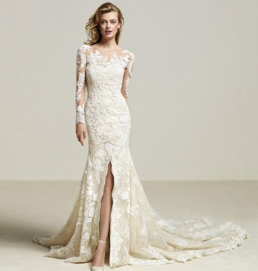 d8cf96266f Long Sleeves Lace Bridal Gowns Front Split Sexy Wedding Dress 2018 Lb1859  pictures   photos