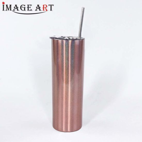 600ml Heat Transfer Sublimation Glitter Colored Water Bottle Vacuum Thermos Flask with Straw (Gold)