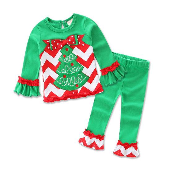 Bkd Soft Cotton Xmas Tree Pattern Kids Christmas Clothes Set