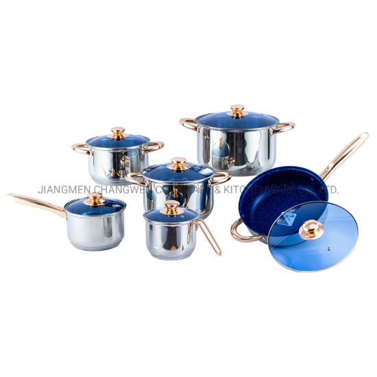 In Stock 12 PCS Triply Nonstick Fry Pan Camping Cooking Sets Stainless Steel with Blue Glass Lid