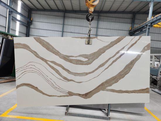 Artificial Marble Stone Brittanica Gold/White Engineered Quartz Slabs Kitchen Bath Countertop Decoration Materials