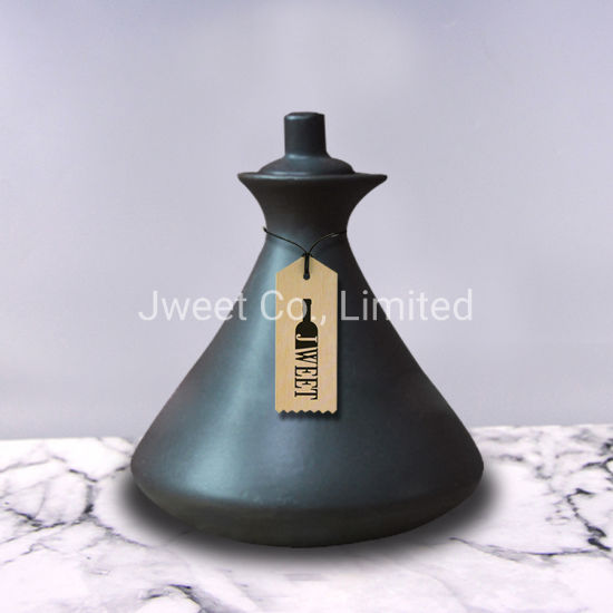 700ml Collection Cone Shape Black Ceramic Packaging Bottle for Whisky
