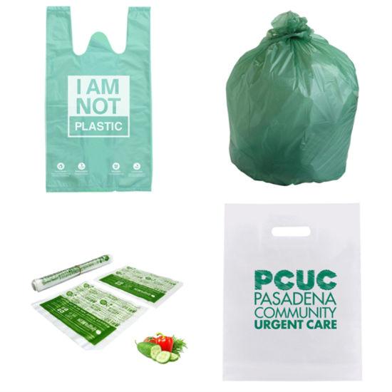 Pack of 50 Cornstarch Made Medium Compostable carrier bag