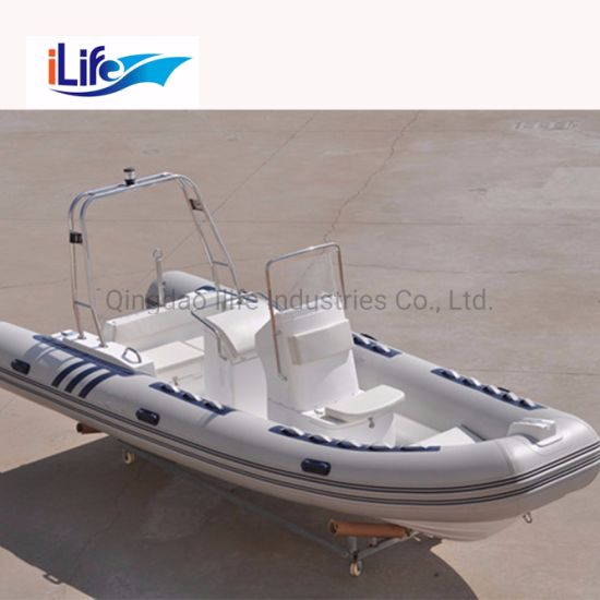 Ilife 5.8m Custormized PVC/Hypalon Rigid Hull Firberglass Inflatable Rubber Fishing Sport FRP Boat with Outboard Motor for 11 Persons