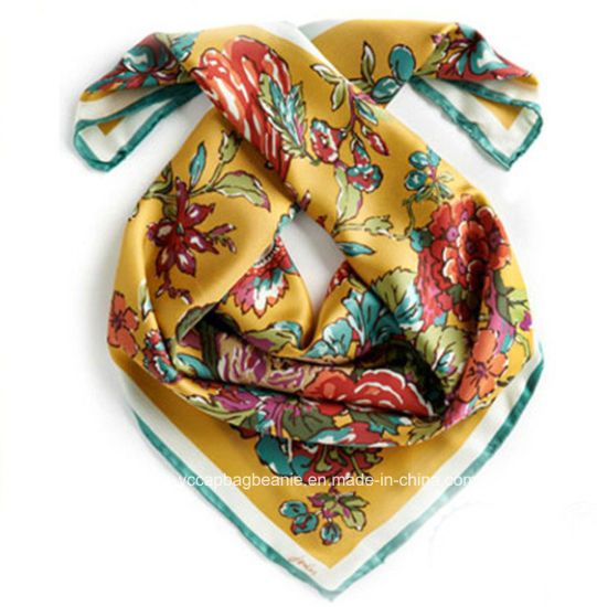 Lady Various Color Digital Print 100% Silk Scarf
