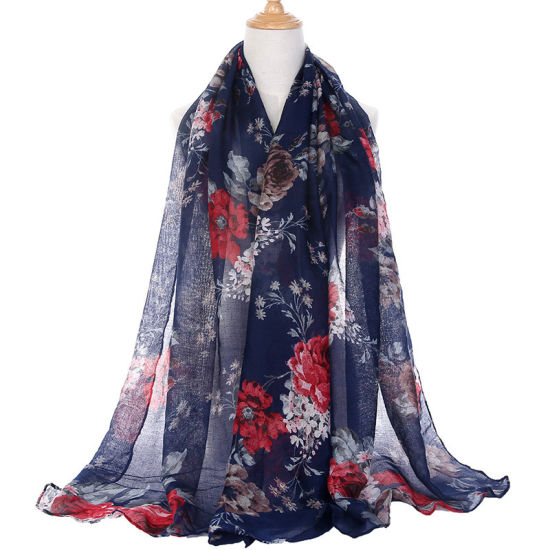 Lady Spring Summer Printed Flower Cotton Sheer Voile Scarf Shawl