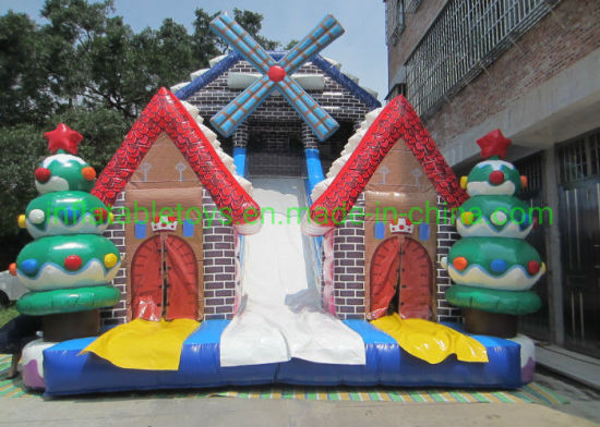 Christmas Inflatable Slide Big Xmas Inflatable Windmill Snowman Slide pictures & photos