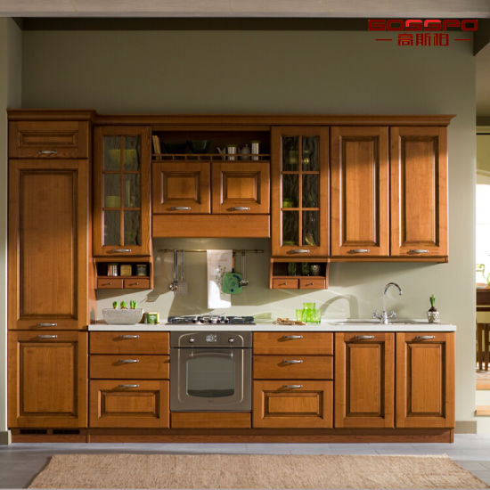 China Modern Painting Solid Teak Wooden Kitchen Cabinet Gsp5 046