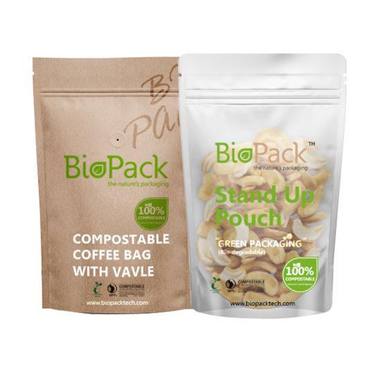 Compostable Custom Zipper Food Snack Nut Stand up Pouch Packaging Zip Lock Coffee Tea Kraft Paper Doypack Biodegradabale Bag