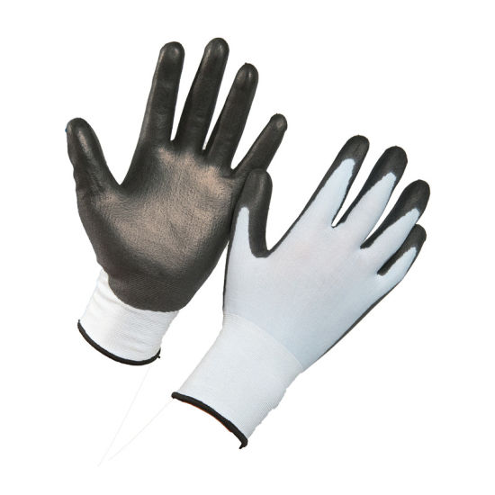 Gloves Work White Polyester Black PU Coated Safety