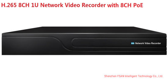 Fsan 8CH 2 Hdds Full Real-Time Network Video Recorder 1u NVR with 8CH Poe