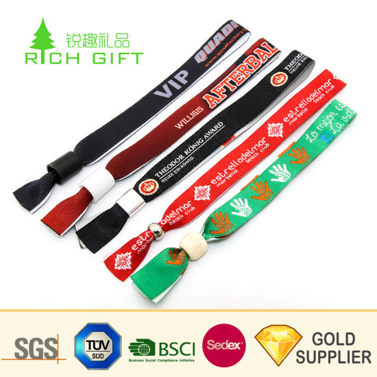 High Quality Cheap Custom Personalized Polyester Woven Wristbands Festival Fabric Bracelet for Promotion Gifts pictures & photos