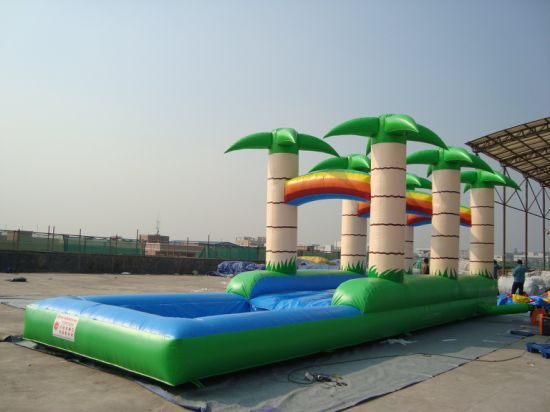 Inflatable Water Slide & Slip with Pool Air Track for Children