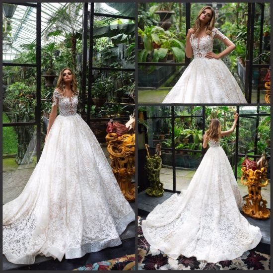 China Lace Bridal Gowns Tulle 3/4 Sleeves Puffy Wedding Dresses ...
