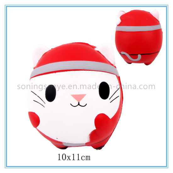 DTY0113 Red Cat Squishy Toy Scented Squeeze Cat Stress Relief Slow Rising Toy