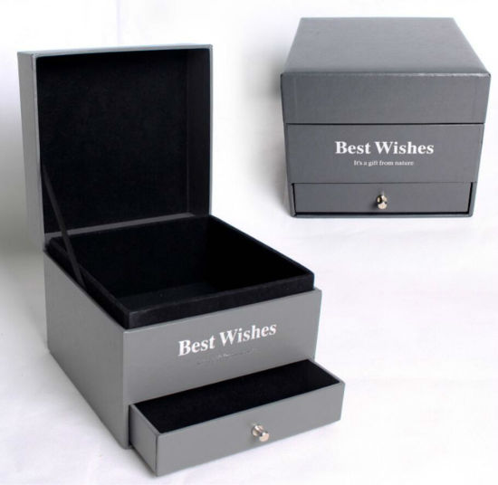 Cosmetic Gift Box with Foil Stamping Double Drawer and Metal Pull
