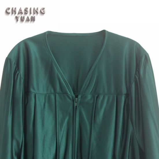 9e69da0698d Wholesale Shiny Forest Green Middle School Disposable Graduation Gowns