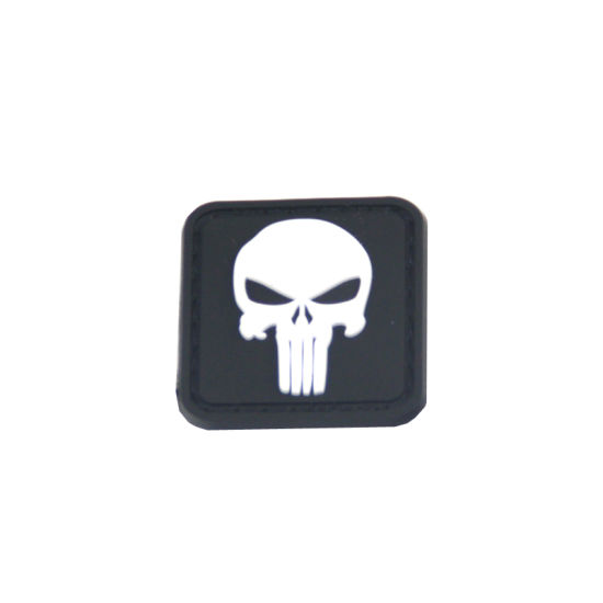 OEM Skull Logo Design PVC Patch with Velcro Backing