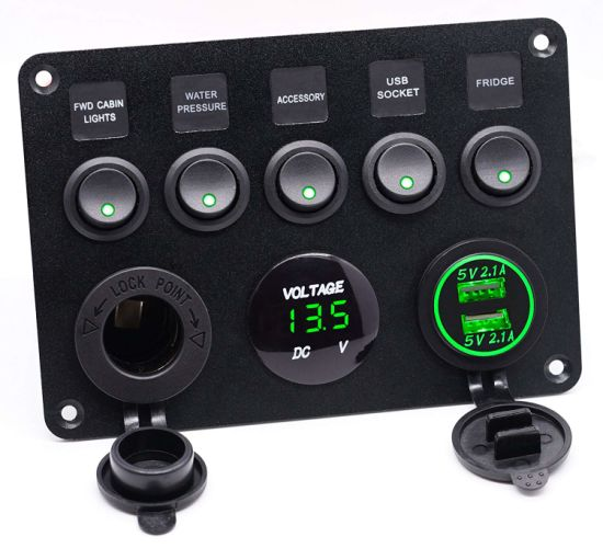 5 Hole Small Rocker Switch Panel with 4.2A USB Socket, Voltmeter and Power Socket pictures & photos