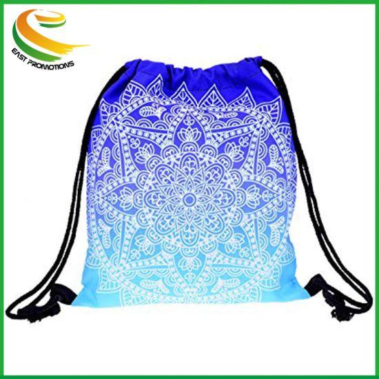 Yokata Cute Pattern Drawstring Bag for Girls, Gym Bag for Boy, Shoulder Bag Backpack for Women Men, Perfect for Sport School Travel - Blue Mandala