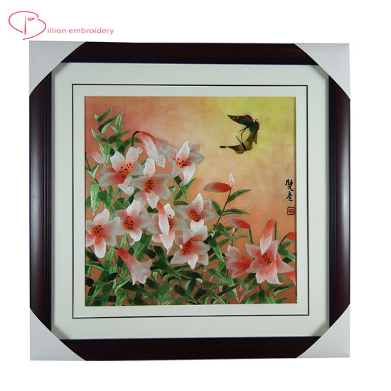 Home Decoration Painting Flower Chinese Style Hand Sewing Embroidery Wall Hanging
