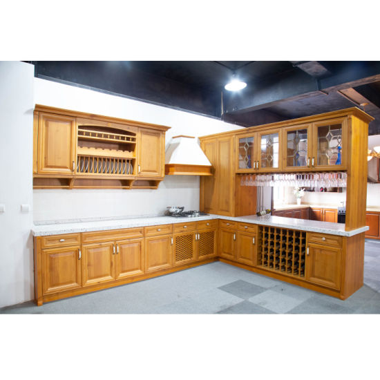 [Hot Item] American Cherry Kitchen Cabinet in Yellow with Wine Bar,  American Style