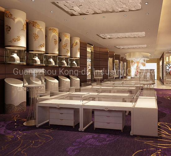 Luxury Custom Glass Jewelry Display Cabinet Showcase with LED Light pictures & photos