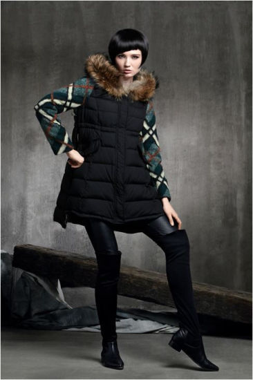 Wholesale Stock Good Women Winter and Autumn Clothes Grid Splicing Sleeve Down Coat