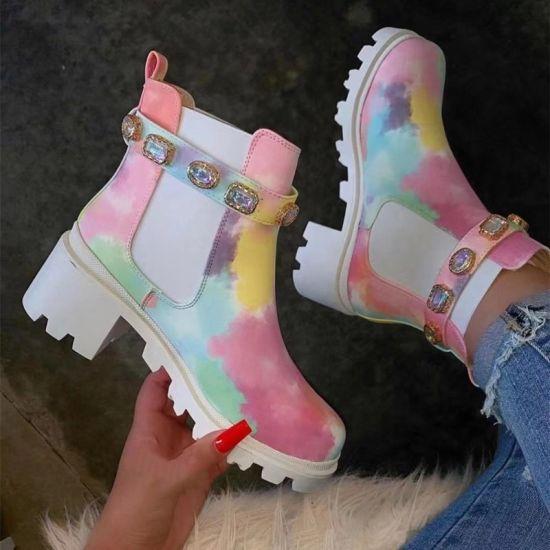 Autumn and Winter New Color Rhinestone Short Boots Female Thick Heel Round Toe Non-Slip Fashion Martin Boots