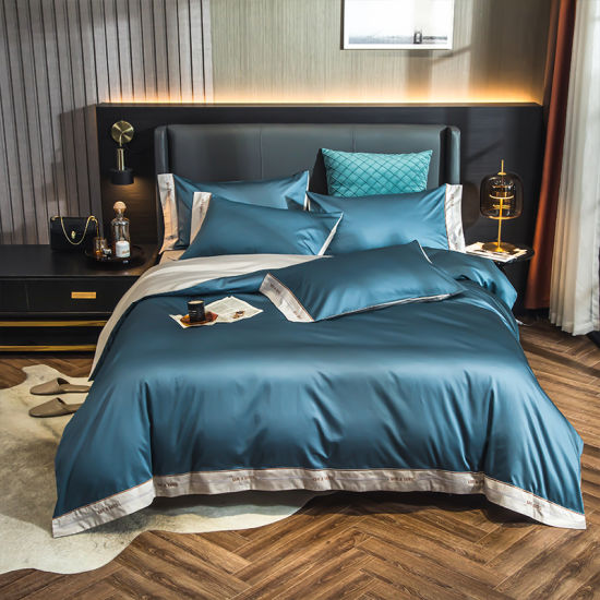 Luxury Summer Satin Silk 4 PCS Silk Printed Bedding Set