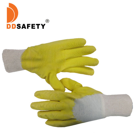Ddsafey Yellow Latex Crinkle Finish with Cotton Liner Gloves Ce 3232