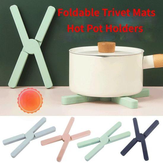 Non-Slip Heat-Resistant Folding Silicone Trivets Hot Pad Pot Holder