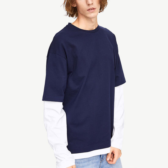 Wholesale Custom Round Neck Long Sleeve T-Shirt 100% Cotton Men's T-Shirt Blue and White Cuffs T-Shirt