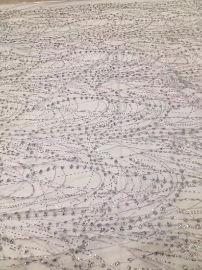 Lace Fabric with Sequins for Elegant Wedding and Party Dress