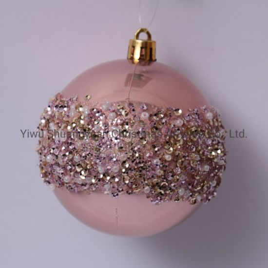 China 8cm Plastic Pearl Light Rose Gold Christmas Ball China Plastic Ball And Hand Painted Ball Price