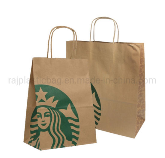 Wholesale Custom Automatic Twisted Handle Die Cut Stock Kraft Cheap Clothing Shopping Store Take Away Food Packaging Brown Paper Gift Packing Super Market Bags
