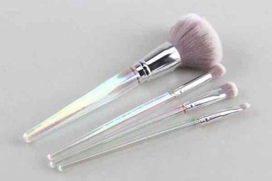 Mirror Aluminum Tube Two-Color Fiber Bristle Makeup Brush Set (Loose Powder Brush/Large Eyeshadow Brush/Eye Shadow Brush/Lip Brush)