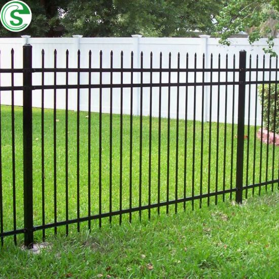 Ornamental Wrought Iron Fence 3 Rails 5FT Black Fence for Yard