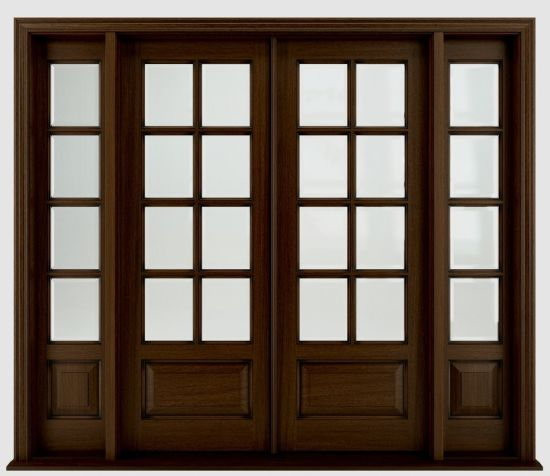 Traditional Stained Front Solid Mahogany Wooden Doors Design with Glass pictures & photos