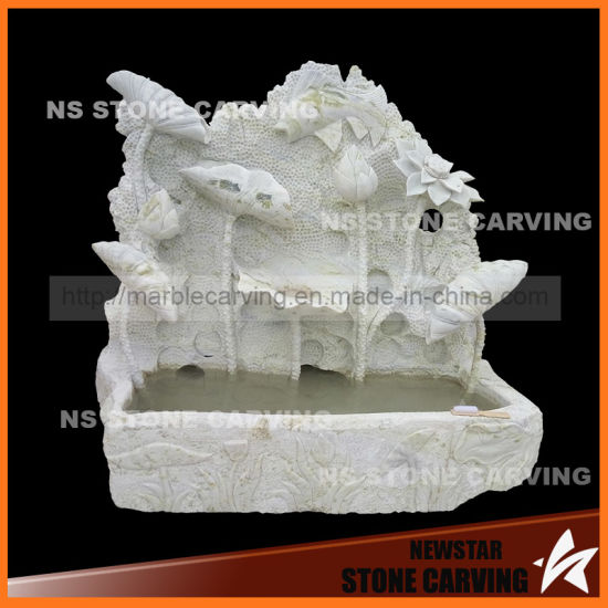 China Natura Green Marble Lotus Flower Leaf Carving Wall Fountain