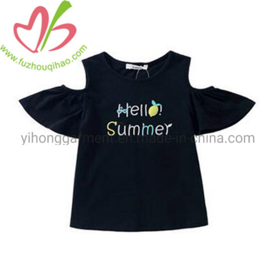 off Sleeves Girl Long Tops with Name Letter Printing