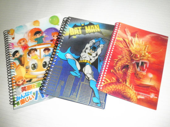 3D Cartoon Printing PVC Covers Spiral Notebooks