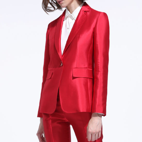 China Latest Design Women Office Embroidery Red Work Uniform Suits