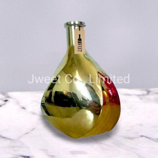 Custom Empty Irregular Shaped Corlored 750ml Wine Gold Glass Bottle