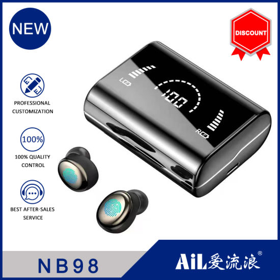 Wireless Earphone Bluetooth V5.0 LED Digital Display with 18650mAh Power Bank and Microphone