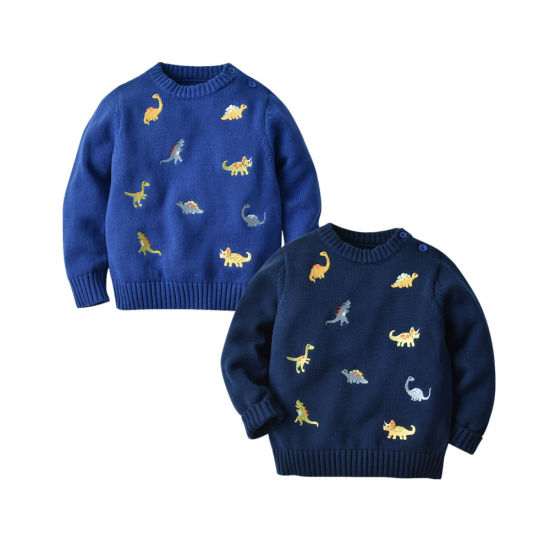 Hot Sales Boys' Sweater Embroidered Little Dinosaur Sweater